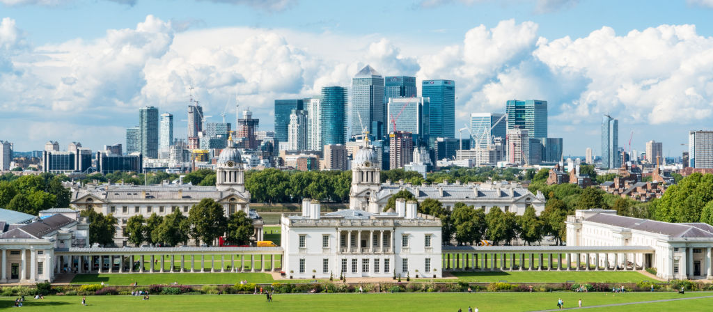 view of London's Canary Wharf from Greenwich
