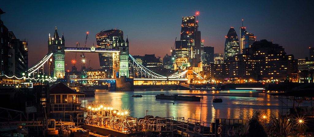 View of the river Thames and London Bridge by night